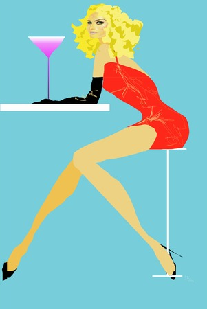 Sexy Blonde Girl having a Pink cosmo drink or martini in a red dress at a bar