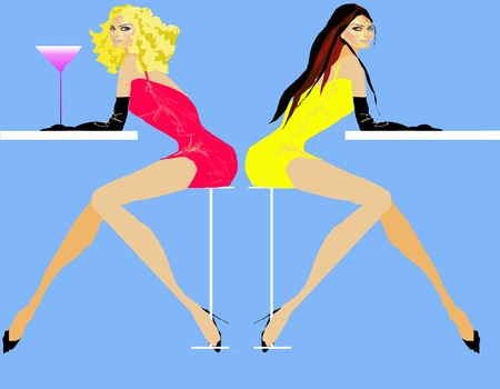 Two girls at nightclub with a drink one blonde and the other brunette Vector