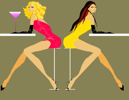 long nose: Two women blonde and brunette in red and yellow dresses with cocktail against tan background Illustration