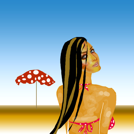 Brunette woman on beach in red and white polka dot bikini top & matching umbrella  イラスト・ベクター素材