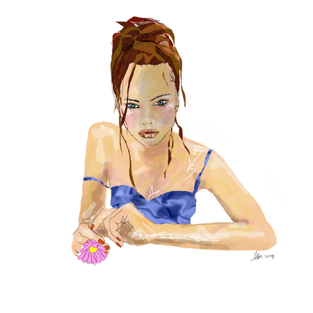 Woman with brown hair and blue eyes in blue lingere holding pink daisy Illustration Vector