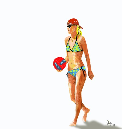 Athletic blonde girl gold volleyball in bikini with red baseball hat illustration