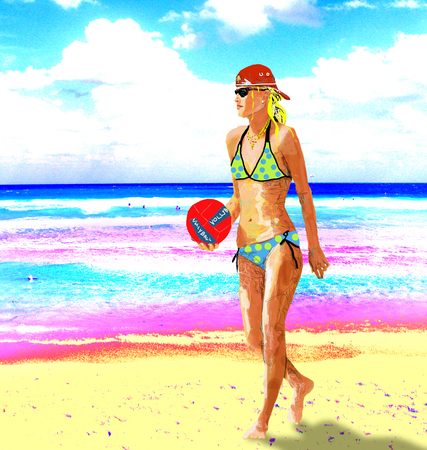 Blonde blonde female athlete on beach holding red volleyball wearing baseball cap illustration Vector
