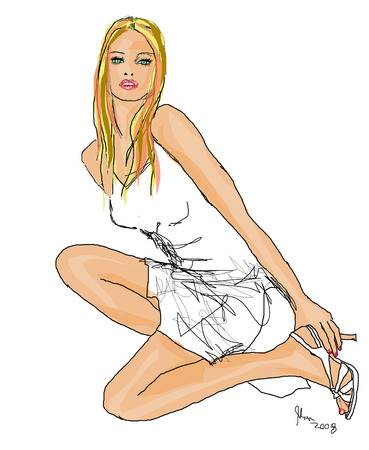 long silky hair: Sexy Blonde woman illustration with white mini and high heel against white