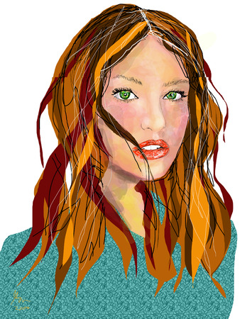 green eyes: Illustration of high school looking girl with light brown hair & green eyes