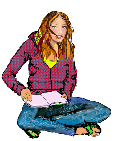 Illustration of High School Girl in blue Jeans with Sweat Shirt Jacket and book