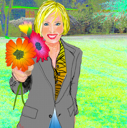 Blonde woman smiling holding bright colored flowers wearing plaid jacket on background illustration