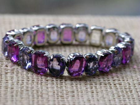 Deep purple crystal and silver bracelet Stok Fotoğraf