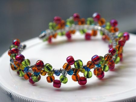 Fruit colored children's bracelet in lime, blue, orange and cherry