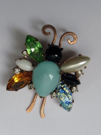 Rhinstone, pearl and opal butterfly pendant Imagens