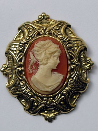 cameo: Ivory cameo with golden brass frame