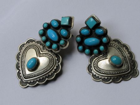 Turquoise and silver heart shaped earrings