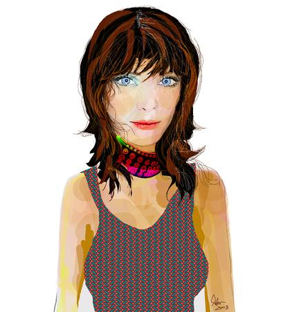 갈색 머리와 롤 타입 소녀 초커와 패턴 탱크 탑을 입고 그림