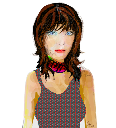 Brunette Rock and Roll type girl wearing choker and pattern tank top Illustration Illusztráció
