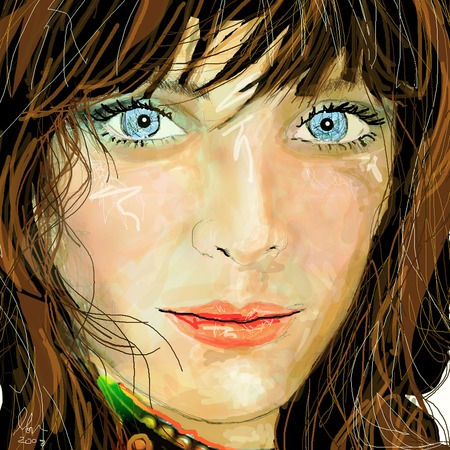 eyes looking up: Close -up illustration of brunette model looking woman with pale blue eyes