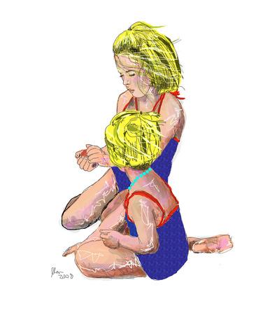 Illustration of two young blonde girls in swim wear peeling an orange