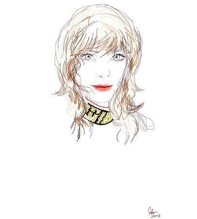 갈색 머리를 가진 펑크 소녀의 그림 그리기 연필 일러스트