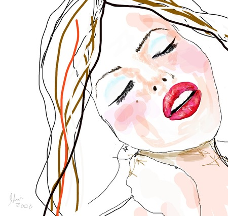 redhair: Close-up illustration of sexy girl wearing cosmetics with red lips