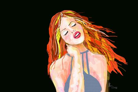 블랙에 대 한 저녁 복장에 빨간 머리를 가진 여자의 그림