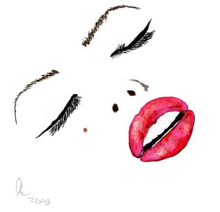 High Fashion Beauty Illustration of a womans face with red lips against white