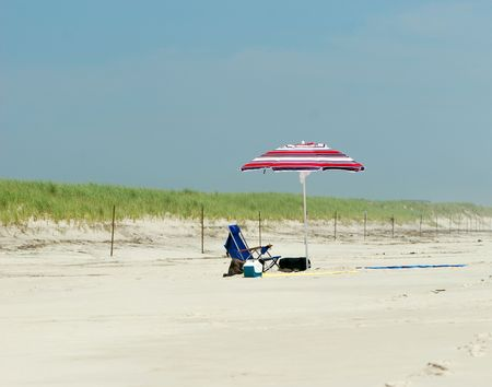 Beach Scene with Umbrella, chair, and various summer elements