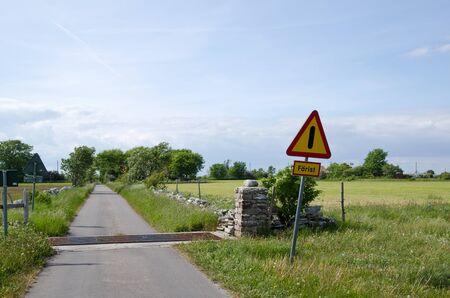 cattle guard: Cattle guard warning Stock Photo