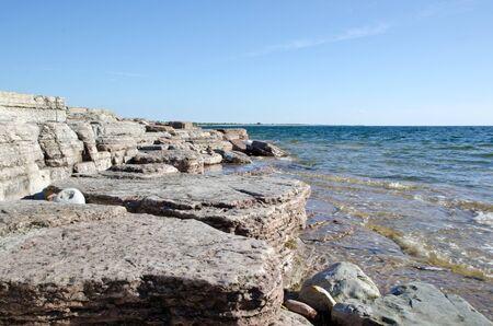 Flat rock coastline Stock Photo