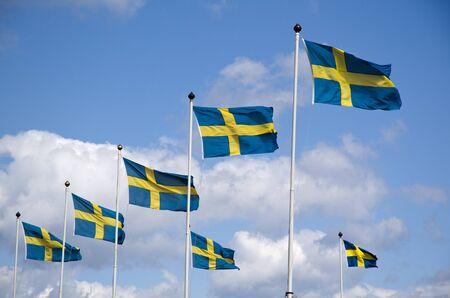 swedish: Swedish flags Stock Photo