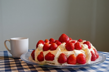 Strawberry cake with cup Stock Photo - 14191689