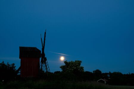 elder tree: Moon over windmill and blossom elder tree Stock Photo