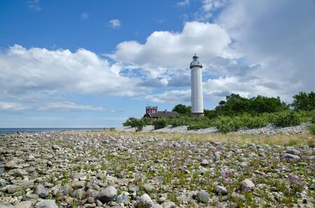 oland: Low angle image of a white lighthouse