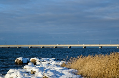 Bridge at winter coast photo