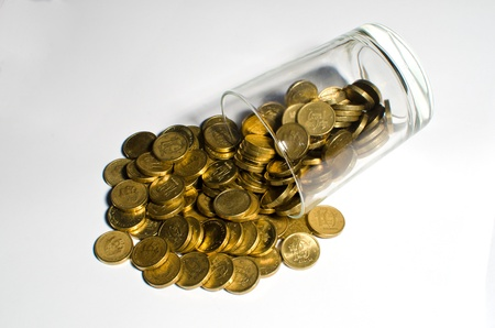 Savings of golden coins photo