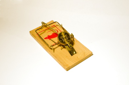 Coin as bait in a mousetrap photo