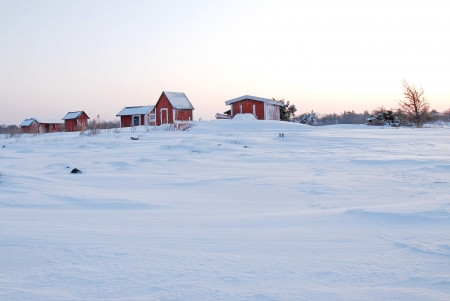 Red cabins in winter dawn