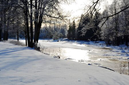 Winter view at small river photo