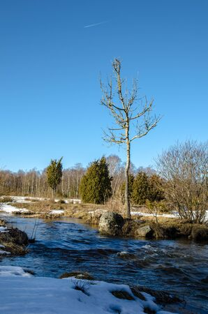 Streaming water in a small river at early springtime  From the swedish island land