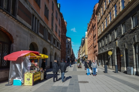 View from Drottninggatan, a main shopping street, in Stockholm, Sweden