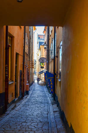 A narrow alley in the Old Town in Stockholm Editorial