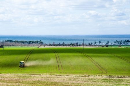 Farming by tractor in a green field at spring  From the swedish island Oland in the Baltic sea