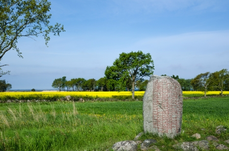 runes: Springtime view over a runic stone from the viking age at Karlevi on the island Oland in Sweden