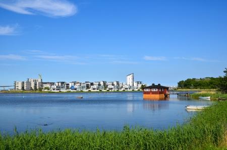 Blick über moderne Teil der alten Stadt Kalmar an der Küste der Ostsee in Schweden