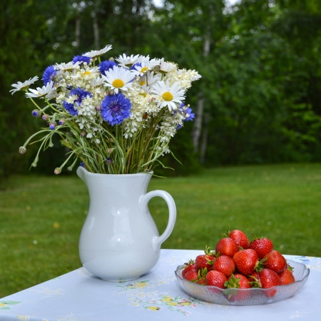 Strawberries and summer flowers on a table outdorrs in a garden Stock Photo - 20724555