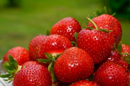 Closeup of fresh strawberries Stock Photo