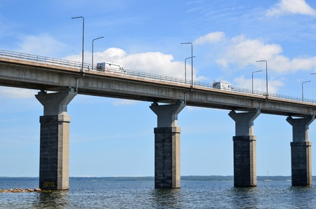 oland: Tourists on their way to the island Oland on the bridge from mainland Sweden  Stock Photo