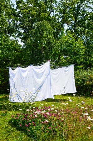 laundry line: Drying white laundry in a garden with flowers and trees