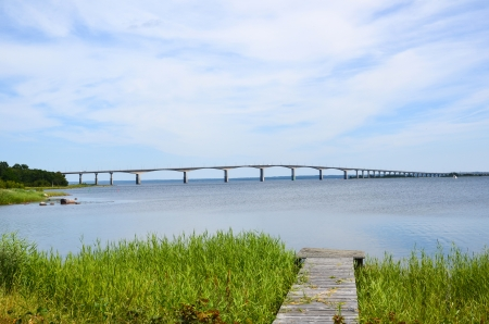 oland: View from an old jetty at the Oland bridge in Sweden