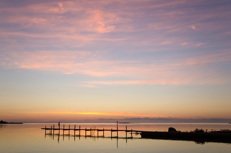 oland: Evening light over bath pier at the coast of Oland in Sweden