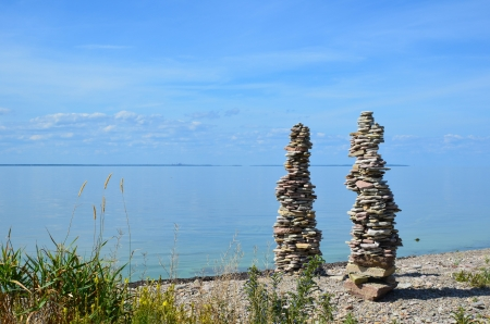 Two stonepiles by the coast of the island Oland in the Baltic sea in Sweden photo