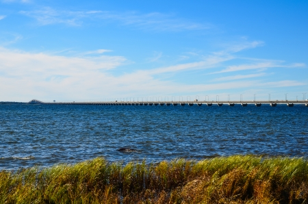 oland: The Oland bridge in Sweden with autumn colored reeds in foreground Stock Photo